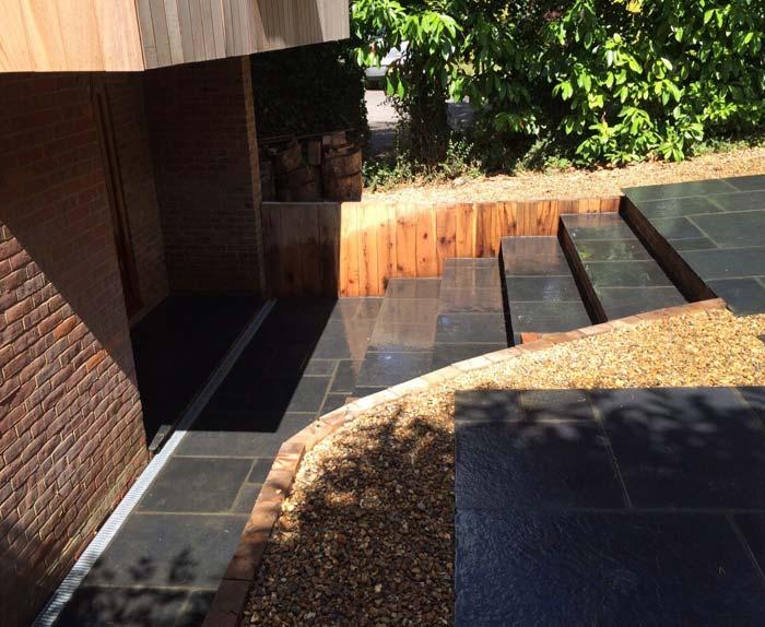 Limestone Steps and Oak Sleeper Walls