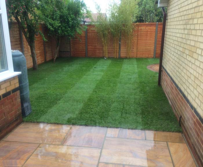 Rainbow Sandstone Patio and New Turf in Bovingdon