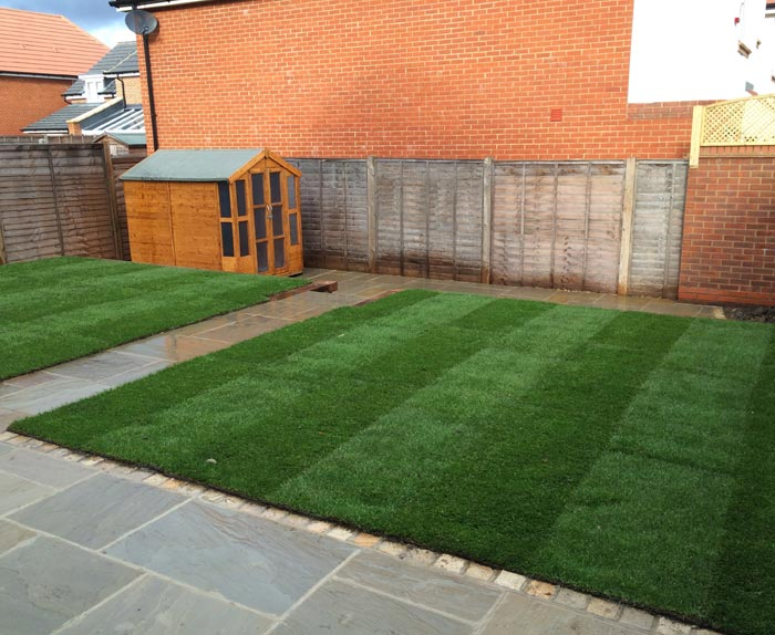 Raj Green Sandstone Patio and New Turf in Leavesden