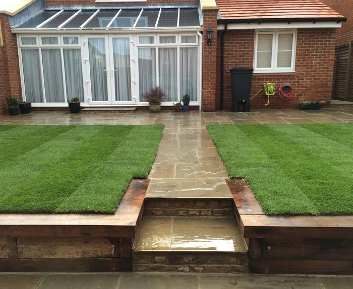 Sandstone Pathway and New Turf