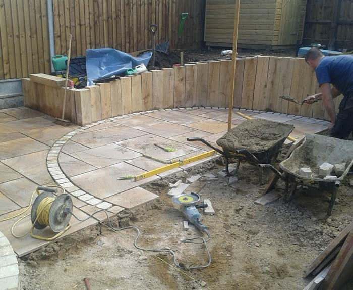 Sandstone Patio Being Laid